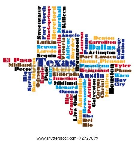 Vector Map Texas State Usa Stock Vector Shutterstock - Texas usa map