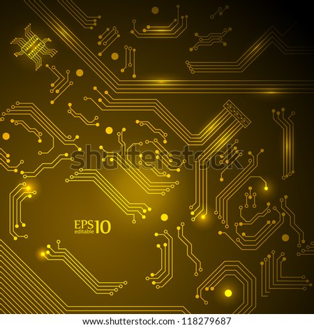 Abstract yellow technology background with circuit board texture. Vector illustration.