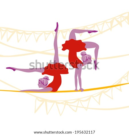 acrobat ballerinas excersize on a rope