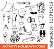 activity holiday icons - stock vector