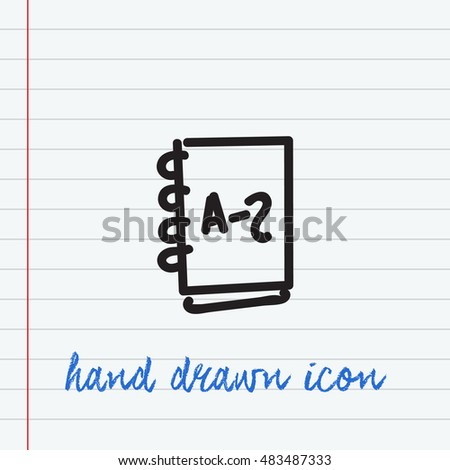 Address book Hand Drawn icon, black ink