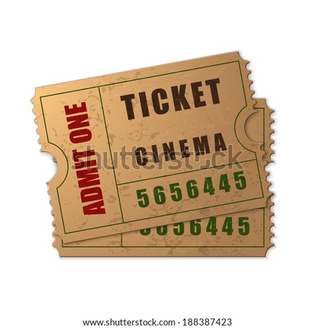 Admit one ticket icon isolated on white background. Vector Illustration