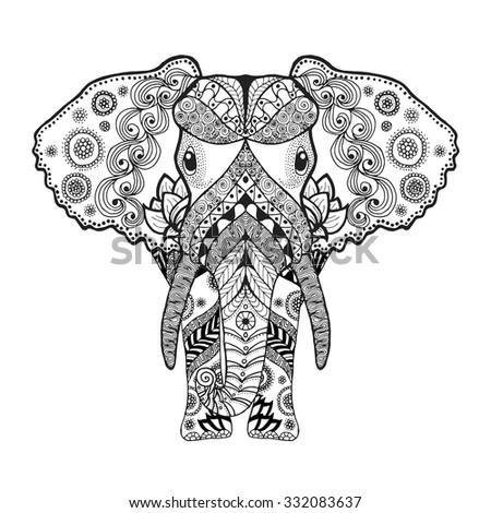 adult antistress coloring page black white hand drawn doodle animal ethnic patterned vector - Coloring Page Elephant Design