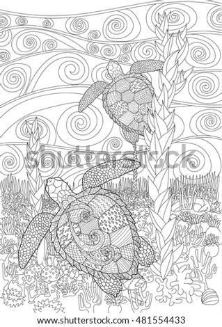 Adult antistress coloring page with turtle in zentangle style. Black white hand drawn doodle oceanic animal for art therapy. Sketch for tattoo, poster, print, t-shirt. Vector