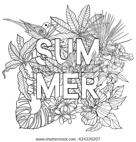 Adult Coloring Book Coloring Page Word Stock Vector 424330270