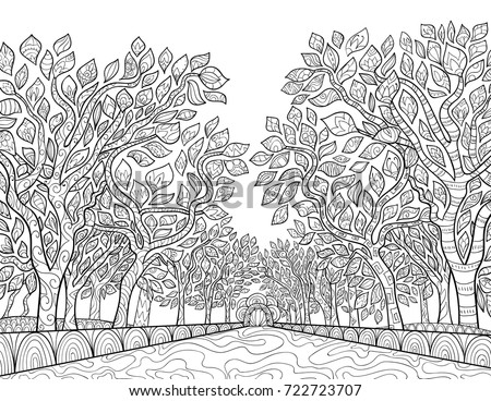 Adult Coloring Pagebook Winter Landscape Mountainsfir Stock ...
