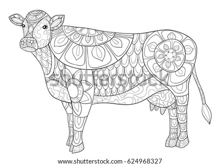Adult Coloring Page CowZen Art Style Illustration