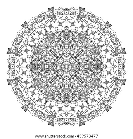 Zen Mandalas Coloring Book : Outline mandala coloring book decorative round stock vector