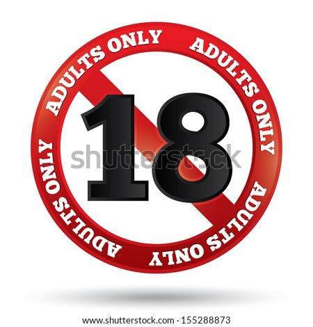 adults only content sign vector sticker age limit icon