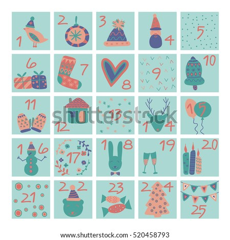 Advent calendar. Christmas poster. Vector illustration for winter holidays