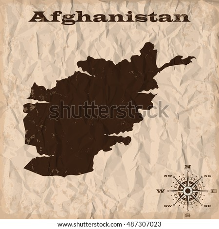 Afghanistan old map with grunge and crumpled paper. Vector illustration