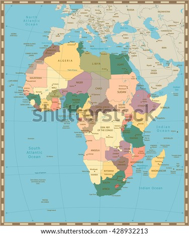 Africa old vintage political map with separated layers.
