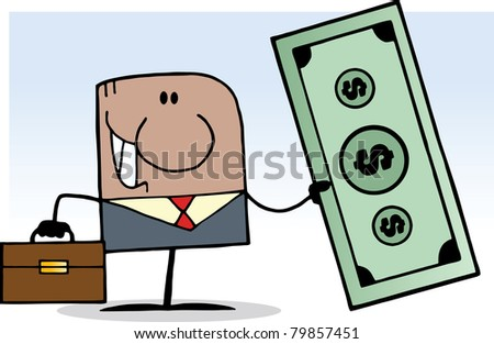 African American Cartoon Doodle Businessman Holding Dollar