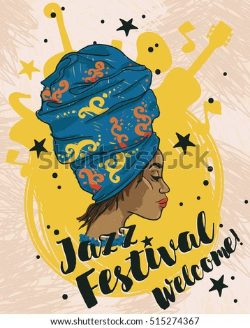 African american woman and musical instruments, jazz festival poster, vector illustration