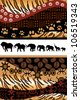 African background made of ethnic motifs and elephants silhouettes - stock