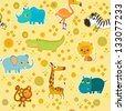 African cartoon animal vector seamless pattern. - stock vector