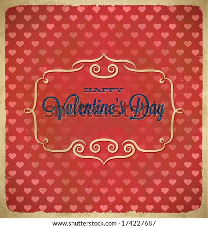Aged vintage Valentines Day polka dot frame with hearts