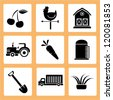 agricultural icon set, farm icons set - stock vector