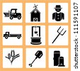 agriculture icon set, countryside - stock photo