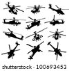 AH-64 Apache Longbow helicopter silhouettes set. Vector on separate layers - stock photo