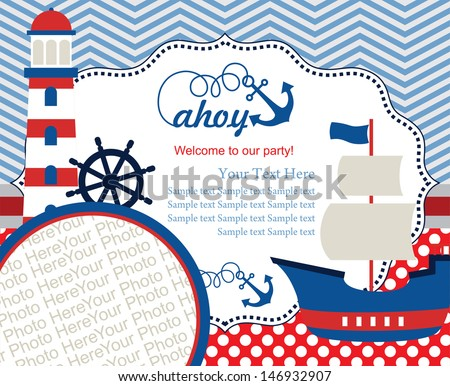 ahoy party invitation card with place for photo. vector illustration