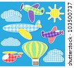 Air transport. Vector set of textile stickers - stock vector