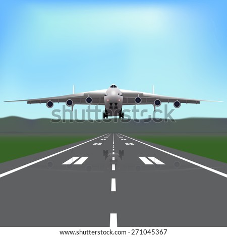aircraft flying in the sky with a reflection on the background of the runway