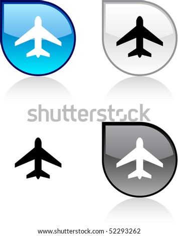 Aircraft glossy drop vibrant buttons.
