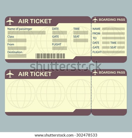 Vector movie ticket wedding invitation design stock vector for Boarding pass sleeve template