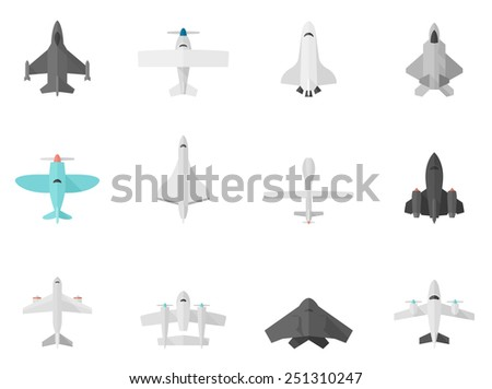 Airplane icons in flat color style