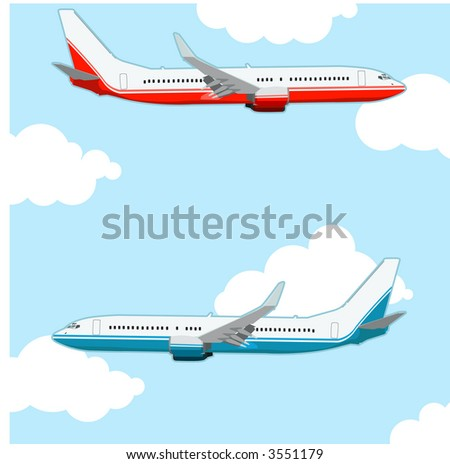 Airplane illustration in different color.