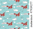 Airplane seamless pattern - stock vector