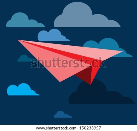 leadership concept red white paper plane stock vector
