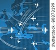 Airplanes flying over the abstract map of europe - stock vector