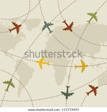 airplanes vintage over map background. vector illustration
