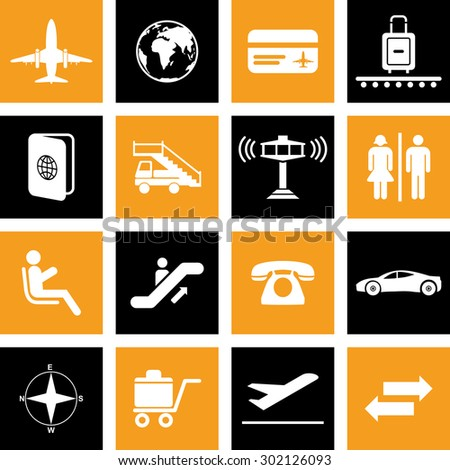 Airport icons set For Web & Mobile. Eps-10.