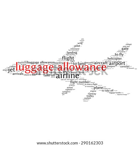 Airport info-text graphics and arrangement concept (word cloud)