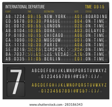 Vector Airport Board Isolated Realistic Flip Vector – Scoreboard Template