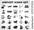 airport sign, airport icons set - stock vector