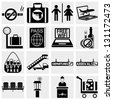Airport vector  icons set. Elegant series icons and signs - stock photo