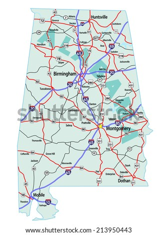 California Road Map Interstates Us Highways Stock Vector - Us map with highways and interstates