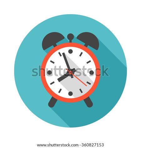 Alarm Clock Icon Long Shadow Flat Stock Vector 309501284