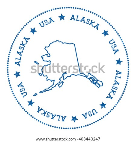 Alaska Vector Map Sticker Hipster And Retro Style Badge With Alaska Map Minimalistic Insignia