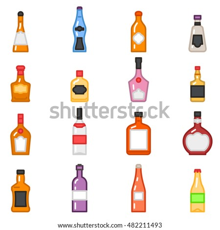 Alcohol bottles icons in flat line style vector. Set of alcoholic beverage tequila beer and vodka, illustration of alcohol for menu