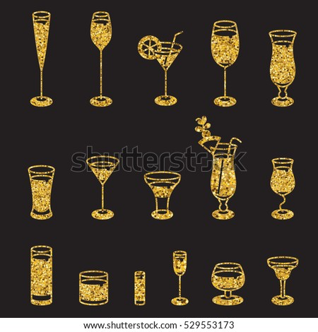 Alcohol glasses. Set of golden glitter icons. Different types of alcohol glasses.