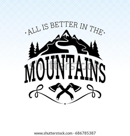 Wilderness Quote Typographic Emblem Stock Vector 260630918