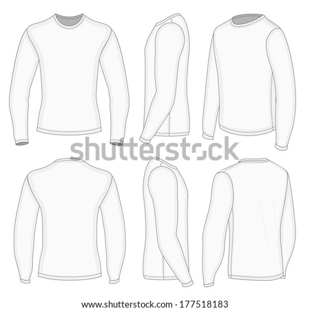 White mens sweatshirt template front back stock vector for Long sleeve t shirt template