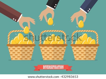 Allocating eggs into more than one basket. Business diversification concept
