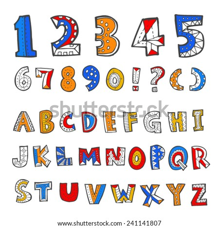 alphabet and numbers - hand drawn in vector
