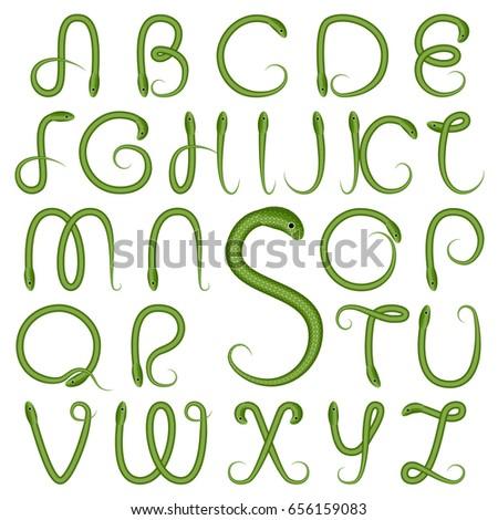 S Snake Font Botanic Alphabet Green...